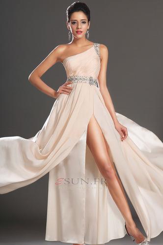 Robe habillée pour mariage Thigh-High Slit Pomme Épaule Asymétrique Zip Taille Naturel - Page 2