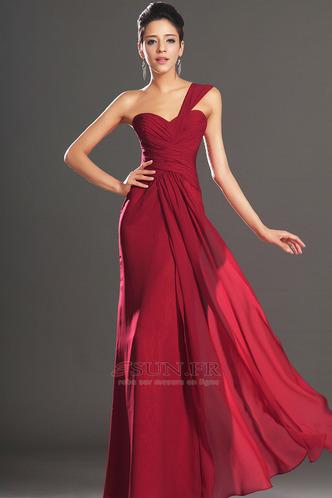 Robe de soirée Rouge Elégant Fourreau plissé Plissé Sans Manches - Page 1
