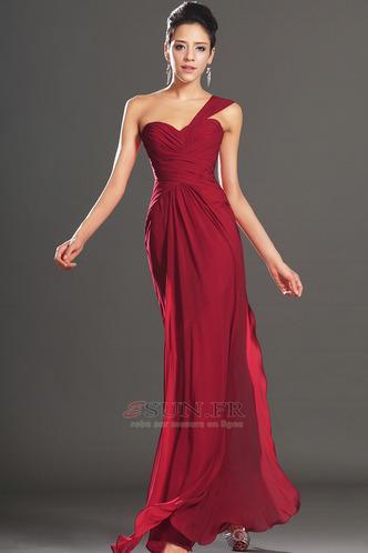 Robe de soirée Rouge Elégant Fourreau plissé Plissé Sans Manches - Page 3