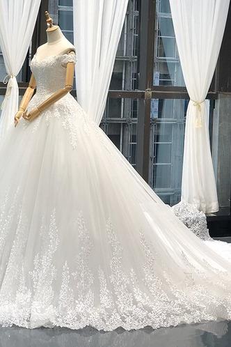 Robe de mariée Lacet A-ligne Tissu Dentelle Épaule Dégagée Formelle - Page 7