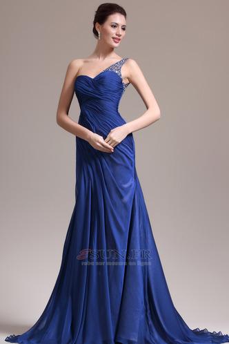 Robe de soirée Sirène Sans Manches Manquant Ruché Gaze Bleu de minuit - Page 2