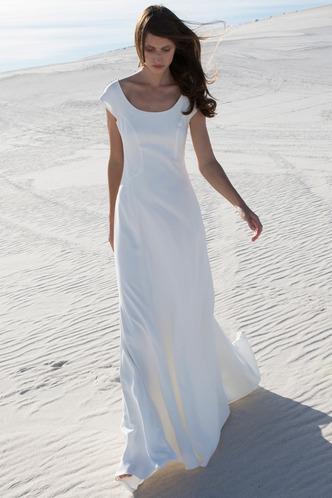 Robe de mariée Sans Ceinture Satin Élastique Gaze A-ligne Manche Courte - Page 1